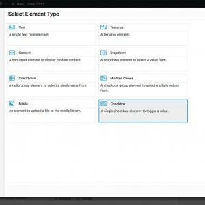 Element type selection modal